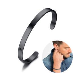 Einfaches manschettenarmband online-Benutzerdefinierte personalisierte 6 mm schwarz Plain Manschette Armband für Männer Edelstahl Armreif Brackelts Brazalet Unisex Schmuck