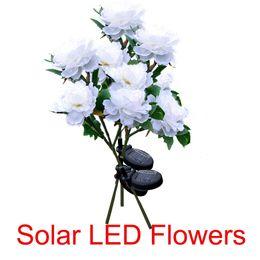 Wholesale solar led flowers - Outdoor Solar Powered Artificial Rose Flower LED Lights Garden Yard Lawn Landscape Decor Wedding Party Night Light Lamp