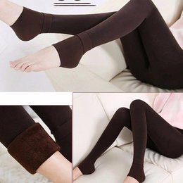 Wholesale winter leggings womens - 1 Pair Hot Sale Fashion Winter New Womens Solid Thick Hosiery Warm Fleece Lined Thermal Stretchy Trousers Leggings Pants
