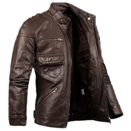 Wholesale Avirex Leather Jacket Xl Men - Wholesale- 2016 Russian Style Fashion Mens Zipper Leather Jacket For Men New Slim Fit Motorcycle Avirex Leather Jackets Male Designer S2156
