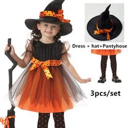 2019 cappelli del partito della ragazza Bambini Witch Girls Dress bambini Costumi di Halloween ragazze Performance Party Cosplay Halloween Kids Costume Hat + Dress + Pantyhose 3pcs / set cappelli del partito della ragazza economici