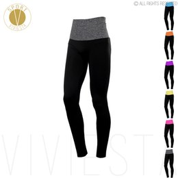 Wholesale Leggings Neon - Neon Ribbed High Waist Sports Leggings - Women's Yoga Running Gym Workout Fitness Elastic Fit Soft Stretch Long Tights Pants