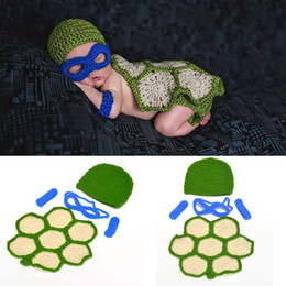 Wholesale Hand Knitted Clothes - 2018 Newborn Baby Tortoise Photography Props Cute Hand Knitted Crochet Hat and Pants Wraps Newborn Baby Photo Clothing Props