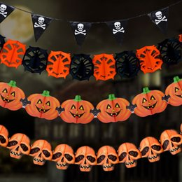 2019 chauves-souris de papier d'halloween Nouveau papier chaîne guirlande décorations citrouille chauve-souris fantôme araignée crâne forme Halloween décor guirlande décor chauves-souris de papier d'halloween pas cher