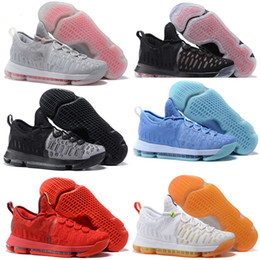 Wholesale Cheap Kd Shoes Free Shipping - Free Shipping Mens KD 9 BHM Black History Month White Black Basketball Shoes Cheap kd9 kds 9s Sneakers Size 7-12