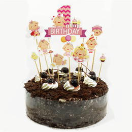 2019 baby mädchen kuchen toppers Happy Birthday Cake Topper Autos Stamm Baby Shower Cupcake Toppers Geburtstag Partydekorationen Kinder Jungen Mädchen Dekoration rabatt baby mädchen kuchen toppers