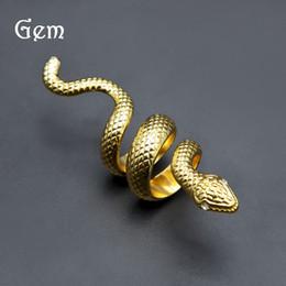 anillos pasados de moda Rebajas Oro color plata hombres estilo hiphop anillo serpiente moda punk forma animal anillos hombres joyería de hip hop regalos