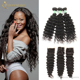 Wholesale Virgin Hair Brazilian Vendor - Unprocessed Brazilian Virgin Human 3 Hair Bundles With 4x4 Closure Deep Wave 1B Color Wedding Online Vendors Queenlike 7A Silver Grade
