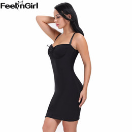 black shapewear dress Promo Codes - C-Summer Push Up Control Slips Shapewear High Elasticity Shaper with Chest pad Body Shaper Waist Slimming Dress Waist Trainer