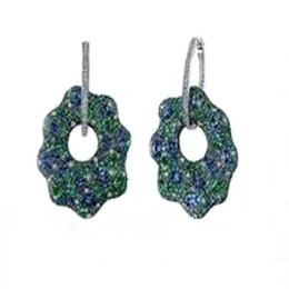 pietre preziose smeraldo Sconti Derongems_Luxury Orecchini a forma di fiore con gemme di smeraldo microperico orecchini_S925 Orecchini con pietre di smeraldo argento sterling a forma di fiore_Facotry Vendite direttamente