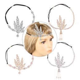Wholesale Inspire Hair - Art Deco 1920s Vintage Bridal Headpiece Costume Hair Accessories Flapper Great Gatsby Inspired Leaf Medallion Pearl Headband