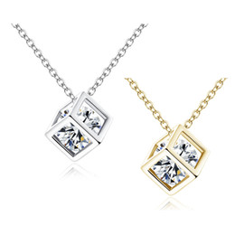 Shop 925 silver diamond pendants uk 925 silver diamond pendants 4 colors 925 sterling silvergold chokers 8mm crystal square cube diamond pendant cage o shaped necklaces wedding jewelry aloadofball Gallery