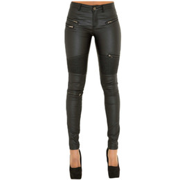 Wholesale Fly Online - Plus Size Black Moto & Biker Style Fashion Woman Skinny Leather Jeans XS-3XL Pleated Fake Zippers Details Pencil Pants Online