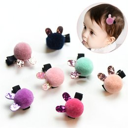 Wholesale Wholesale Hair Barrettes Balls - Korean Limited Rushed Flower Crystal Hair Clip Kids Full Ball Rabbit Hair Accessories Boutique Barrettes Girl Gift Duck 4 Pcs