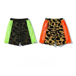 Wholesale sport hip hop pants woman - 2018 New AAPE short pants Breathable Fluorescent Camo Shorts for Men and Women short all-match hip-hop high street sport shorts
