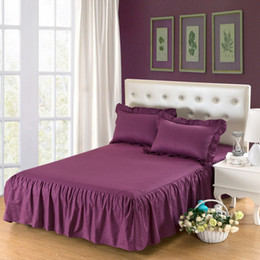 Wholesale Browns Plains Hotel - New 2017 high quality pure cotton bed skirt delicate edging bedspread home wedding bedding Hotel bedspreads