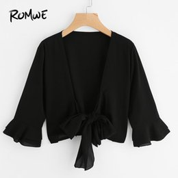 Простые блузки онлайн- Tiered Sleeve Bow Tie Front Top 2018 Spring V Neck 3/4 Sleeve Women Blouse Black Bell Plain Blouse