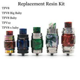 Ausgleichsbehälterdeckel online-Ersatz Resin Kit Fat Extend Expansion Bulb Set mit Resin Tube Caps und Tropfspitze für TFV8 TF12 Prince Reload CP Tank DHL