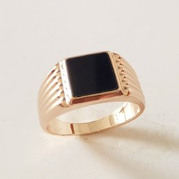 Wholesale 585 Ring - whole sale1 Piece 585 Rose Gold Color Men Jewelry Traditional Casual New Fashion Black Cubic Zircon Party Men Rings