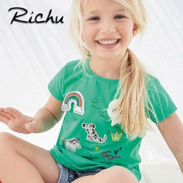 Wholesale Wholesale Girls T Shirt Dresses - Richu plus size t shirt dress baby t shirts for girls t-shirt kids classic 100% cotton animal solid 18 months 2 3 4 5 6 years wholesale