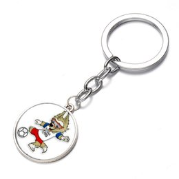 Wholesale Pendant Souvenir - New Brand Wolves Time Keychain Holder 2018 Russian World Cup Mascot Keyring Gift Fan Souvenirs Car Bag Buckle Pendant 1 5sx Y