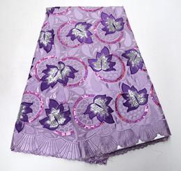 2019 африканская кружевная фиолетовая органза фиолетовый французский кружевной ткани высокого класса африканских кружева ткань двойной органзы с блестками Вышивка для шитья красоты женщин платье дешево африканская кружевная фиолетовая органза