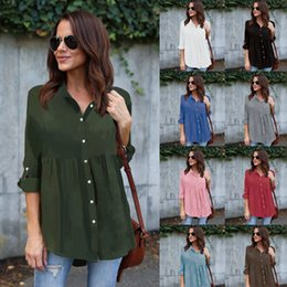 Wholesale Top Peplum Polyester - Women's V-neck Button Down Chiffon Blouse Tunic Tops Long Sleeve Plus Size T-shirts spring summer causal workwear