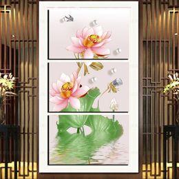 2019 chinesische ölgemälde Moderne chinesische rosa Lotus Flower Canvas Druck HD Drucke Home Decor Poster 3 Panel gedruckt Floral Landschaft Ölgemälde rabatt chinesische ölgemälde