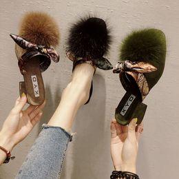 2019 chinelos de fita Sapatos femininos e chinelos outdside 2018 Outono novo estilo com fita de gravata borboleta sapatos Muller moda desconto chinelos de fita
