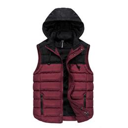 Wholesale Men Vest Jacket Hood - 2017 HOT Sales Men's Waistcoat Fashion Winter Warm Down Jacket Vest Stand Collar Jacket New Hood Coat Oversized XXXL Brand Black