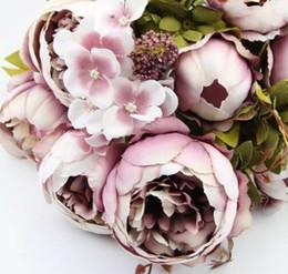2019 roses rouges séchées 1 Bouquet 10 Têtes Vintage Artificielle Pivoine Fleur En Soie De Mariage Décor À La Maison Hight Qualité Faux Fleurs Pivoine GLO 7 pcs