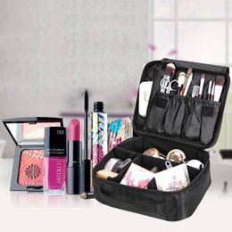 Wholesale Cosmetic Makeup Large Bag - 2 Colors Double Layer Cosmetic Bag Solid Makeup Box Waterproof Portable Storage Large Capacity Organiz Case Nylon Zipper Travel AAA212