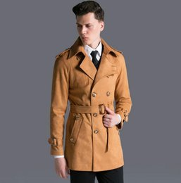 Wholesale Vintage Leather Trench - Wholesale- Deerskin cashmere trench coat men khaki black 2017 autumn winter vintage loose chamois leather coats mens fashion plus size 6XL
