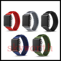 Wholesale silicone wristbands retail - For Apple Watch TPU Dual Color Silicone Smart Bracelet Wristband band Replacement Strap environment watch band 38mm 42mm With Retail Package