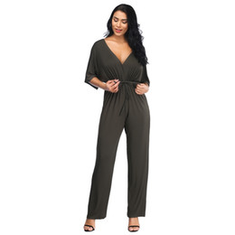 2050f784dc V-neck Sexy High Waist Women Summer Jumpsuits Batwing Sleeve Solid Loose  Rompers Backless Bodysuit Fat MM Plus Size Jumpsuit