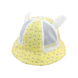 Wholesale Ear Domes - Summer Unisex Mesh Patchwork Dome Bucket Hats baby Panda print Fisherman Caps Sun Protective Ear hat Kid chapeau MZ5886