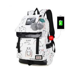2019 sacchetti di tela di canapa lettere di moda femminile stampa zaino usb bag per laptop donne borse da viaggio bianco canvas scuola zaino per le ragazze sacchetti di tela di canapa economici
