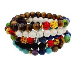 Wholesale Mala Turquoise - 8 mm chakra stones bracelet Buddha to buddha bracelets mala beads lava energy bracelets wholesale for women mens beaded bracelets