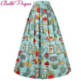 Wholesale Belle Yellow - Belle Poque 2017 Long Maxi Skirts Women Cotton Floral Print Pleated High Waist Pinup Saia Vintage 50s Rockabilly Christmas Skirt