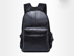 Wholesale Interior Design Simple - Leather School Backpack Bag For College Simple Design Men Casual Daypacks