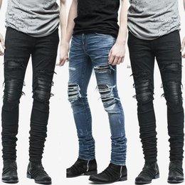 c5444b5484 Nuevo dobladillo con cremallera estiramiento de la rodilla Ripped biker  Jeans hombres Hole Hip Hop ropa Skinny Jeans moda marca hombres pantalones  envío de ...