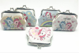 Wholesale Fashion Home Parties - New Fashion Mini Unicorn Pattern Womens PU Wallets Holders Party Home Cute Coin Purses Gifts Free Shipping