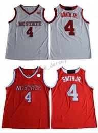 2019 camisa de los herreros 2018 NC State Wolfpack Dennis Smith Jr. Jersey de baloncesto universitario Rojo Blanco # 4 Dennis Smith Jr. Camisetas cosidas en la Universidad Camisetas baratas