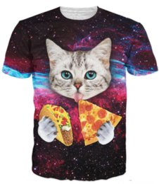 Mangia maglietta online-T-shirt Cat Taco Cat T-Shirt Cat Cute Cat Kitten con Occhi azzurri Taco T-Shirt Galaxy In Space Tshirt U310