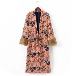 Wholesale Long Stylish Trench Coats - Wholesale- Stylish Spliced Faux Fur Cuff Flower print Kimono Sleeping Style Trench 2017 women Belt Mid Long Windbreaker Coat Outerwear