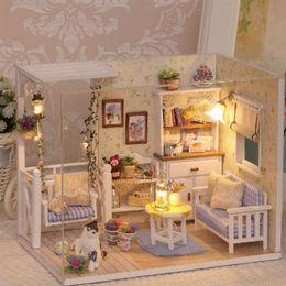 jouet de maison de poupée Promotion VENTE CHAUDE Maison de poupée Meubles Bricolage Miniature Cache-Poussière 3D En Bois Miniature Dollhouse Jouets