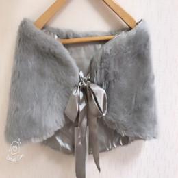 Wholesale Wedding Faux Furs - 2018 In Stock Elegant Gray Fur Wedding Jacket Bride Wraps Winter Wedding Party Prom Dresses Bolero Bridal Cape Cloak