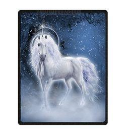 Mantas únicas online-Impreso personalizado Único unicornio Velvet Plush Throw Blanket Super suave Fluffy Ligero Sentido acogedor Manta de cama Mantas para Co