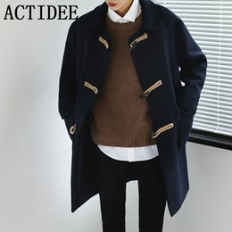 Южнокорейский тренчкот онлайн-Wholesale- South Korea Fashion Horn Button Trench Coat Men Classic Coat Male Plus Size 3XL No.13.F203P115.01