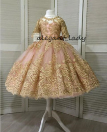 506d170632a Blush Puffy Skirt Princess Flower Girls Dresses with Sleeve 2019 Real Image  Luxury Gold Lace Applique Toddler Infant Birthday Party Gown